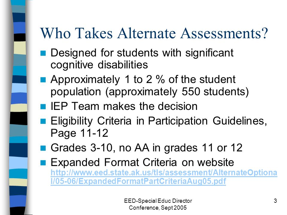 EED-Special Educ Director Conference, Sept 2005 3 Who Takes Alternate Assessments.
