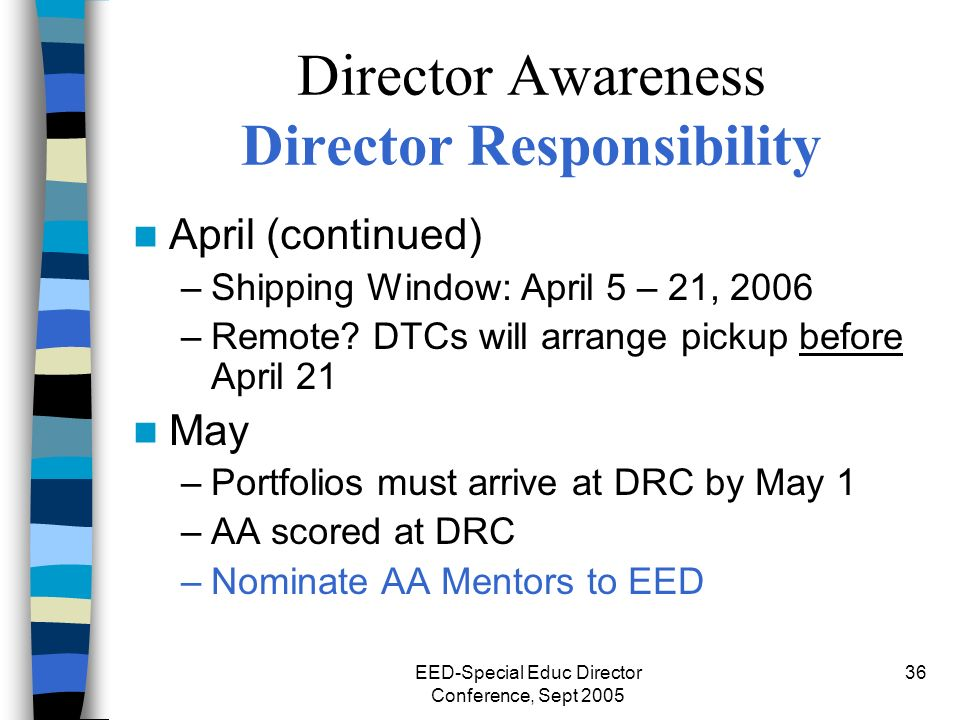 EED-Special Educ Director Conference, Sept 2005 36 Director Awareness Director Responsibility April (continued) –Shipping Window: April 5 – 21, 2006 –Remote.