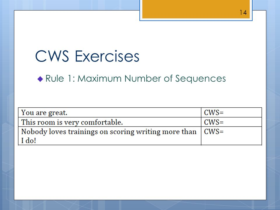 CWS Exercises Rule 1: Maximum Number of Sequences 14
