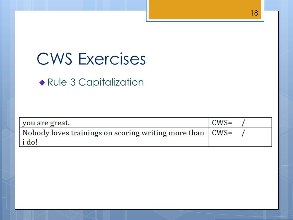 CWS Exercises Rule 3 Capitalization 18