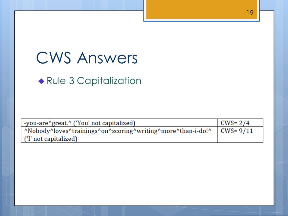 CWS Answers Rule 3 Capitalization 19