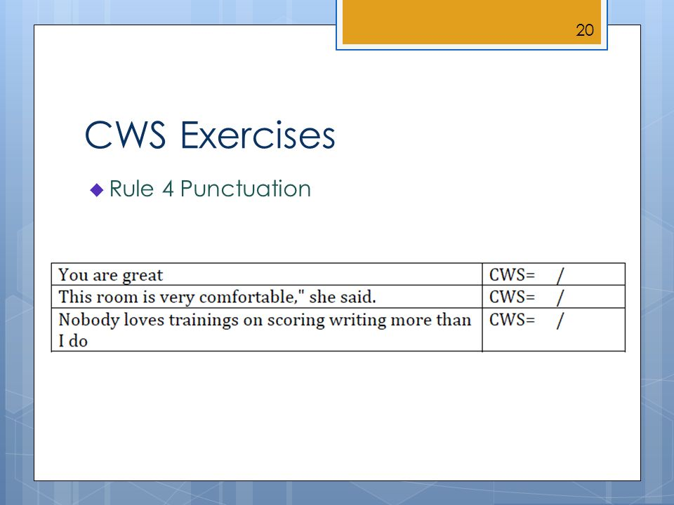 CWS Exercises Rule 4 Punctuation 20