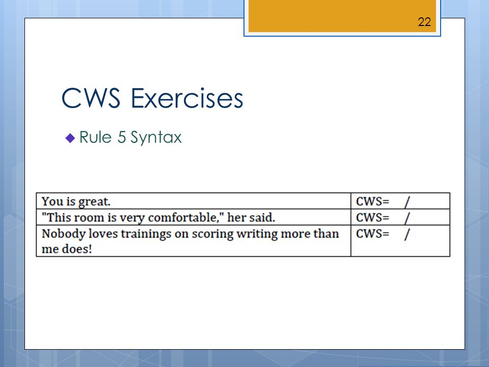 CWS Exercises Rule 5 Syntax 22