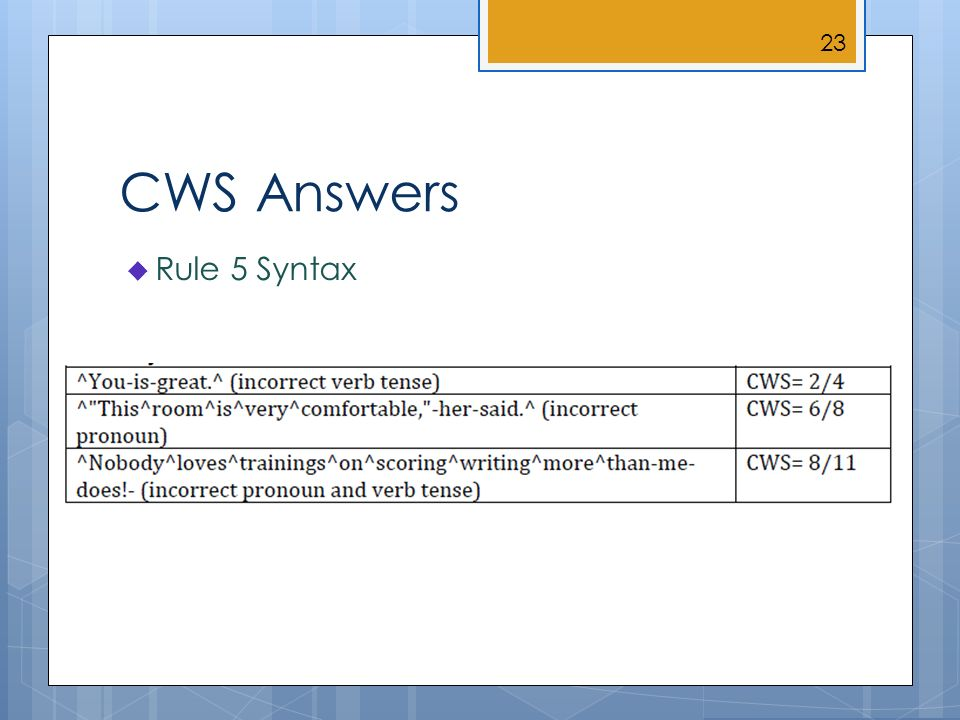 CWS Answers Rule 5 Syntax 23