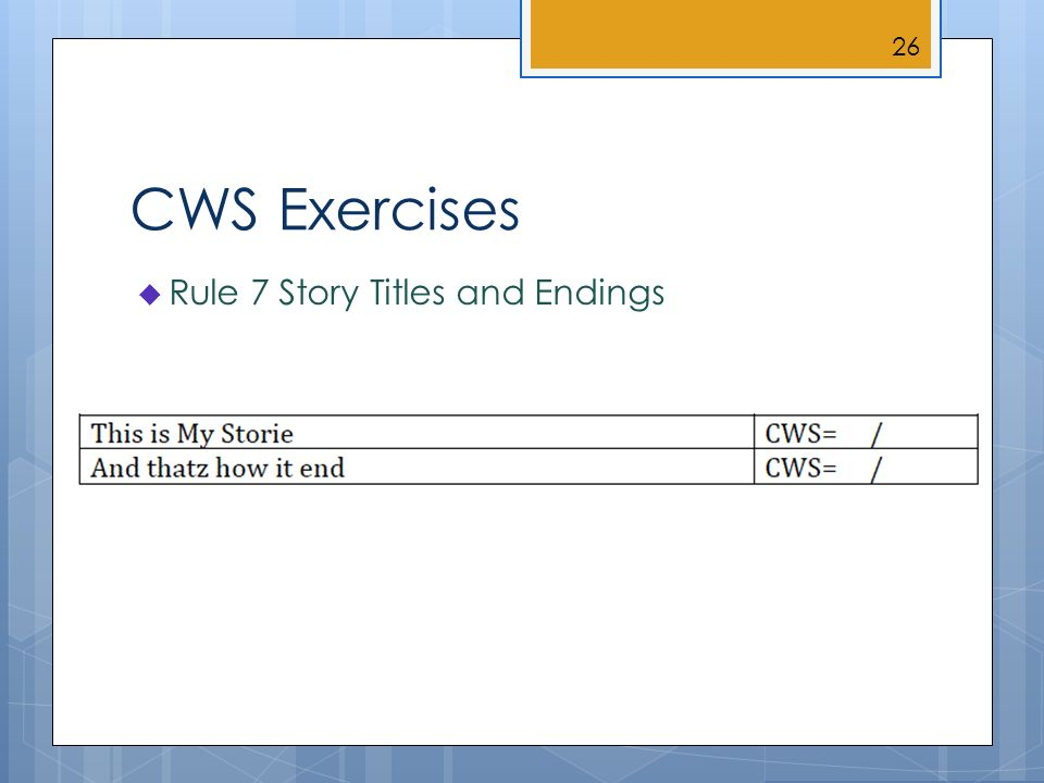 CWS Exercises Rule 7 Story Titles and Endings 26