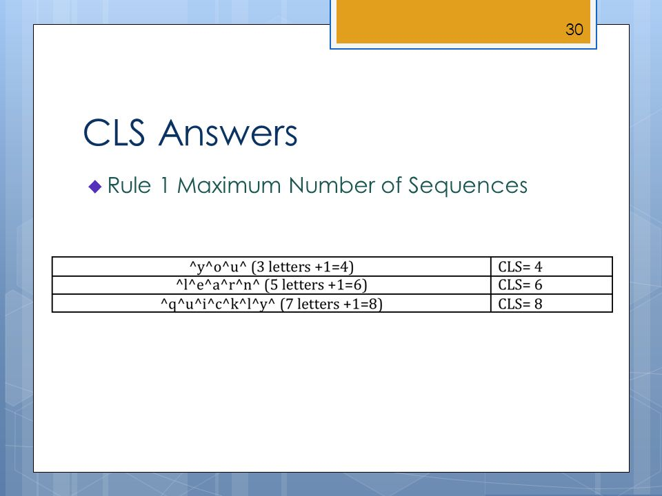 CLS Answers Rule 1 Maximum Number of Sequences 30