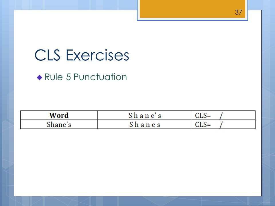 CLS Exercises Rule 5 Punctuation 37