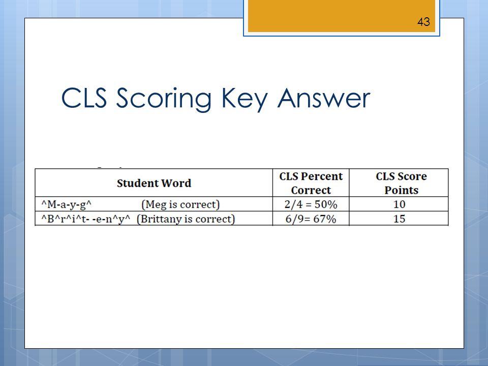 CLS Scoring Key Answer 43