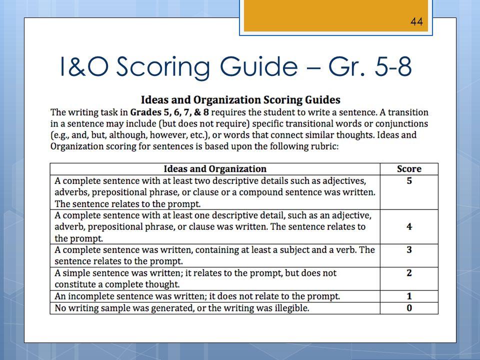 I&O Scoring Guide – Gr. 5-8 44