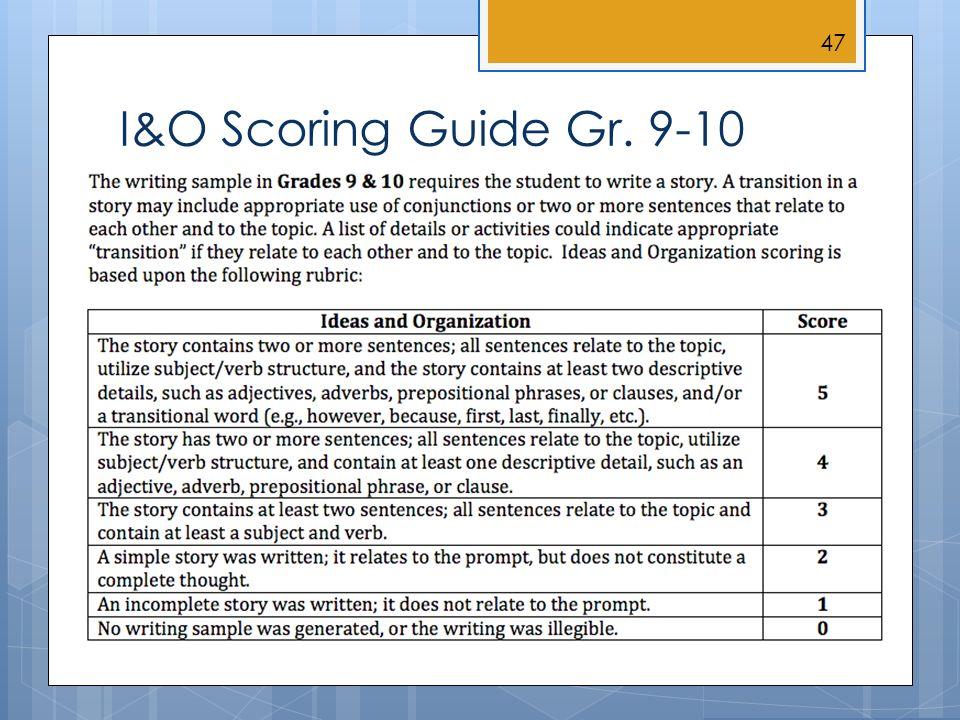 I&O Scoring Guide Gr. 9-10 47