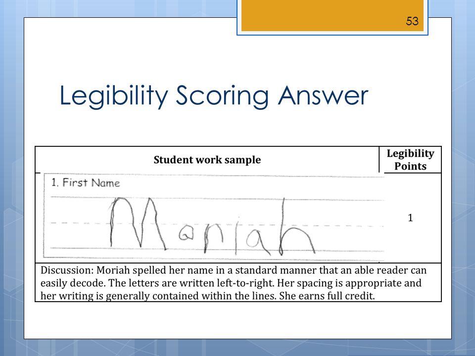 Legibility Scoring Answer 53
