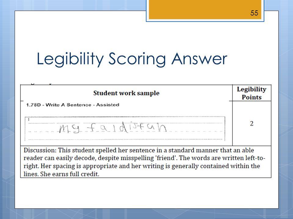 Legibility Scoring Answer 55