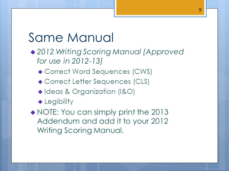 Same Manual 2012 Writing Scoring Manual (Approved for use in 2012-13) Correct Word Sequences (CWS) Correct Letter Sequences (CLS) Ideas & Organization (I&O) Legibility NOTE: You can simply print the 2013 Addendum and add it to your 2012 Writing Scoring Manual.