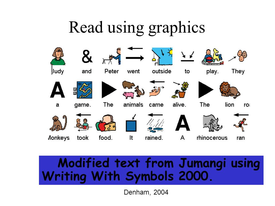 Modified text from Jumangi using Writing With Symbols 2000. Read using graphics Denham, 2004