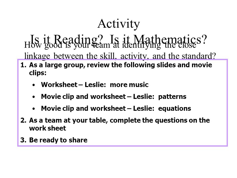 Activity Is it Reading. Is it Mathematics.