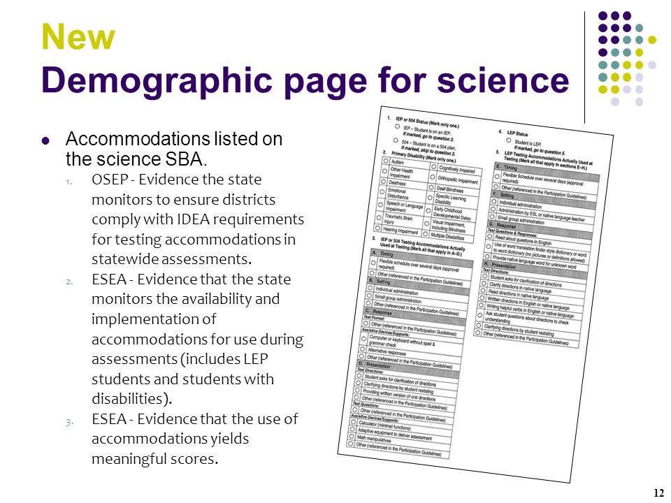 12 New Demographic page for science Accommodations listed on the science SBA.