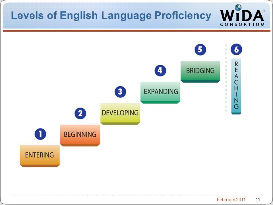 February 2011 11 Levels of English Language Proficiency