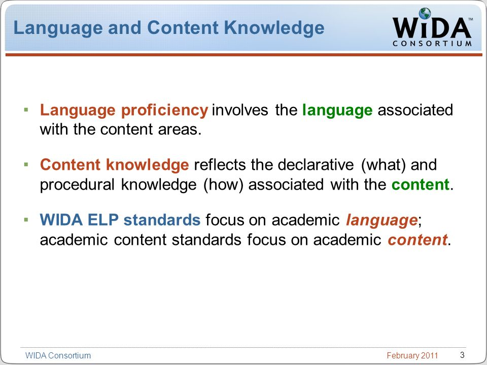 February 2011 3 WIDA Consortium Language and Content Knowledge Language proficiency involves the language associated with the content areas.
