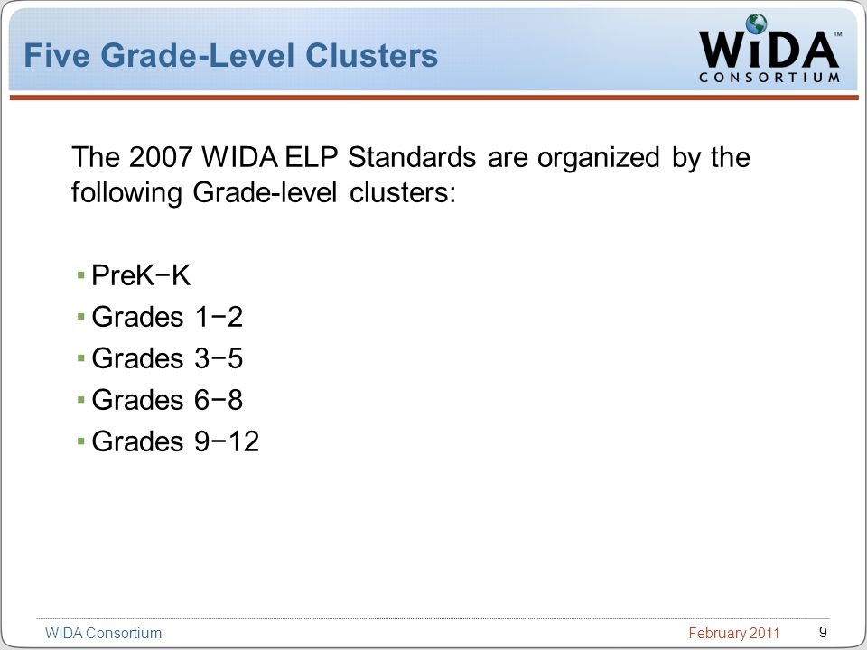 February 2011 9 WIDA Consortium Five Grade-Level Clusters The 2007 WIDA ELP Standards are organized by the following Grade-level clusters: PreKK Grades 12 Grades 35 Grades 68 Grades 912