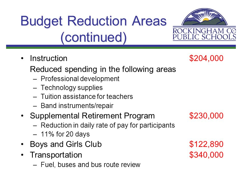 Budget Reduction Areas (continued) Instruction $204,000 Reduced spending in the following areas –Professional development –Technology supplies –Tuitio