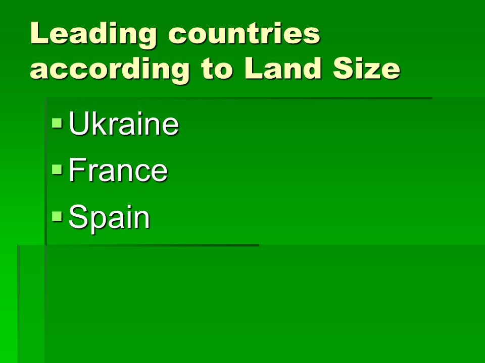 Leading countries according to Land Size Ukraine Ukraine France France Spain Spain