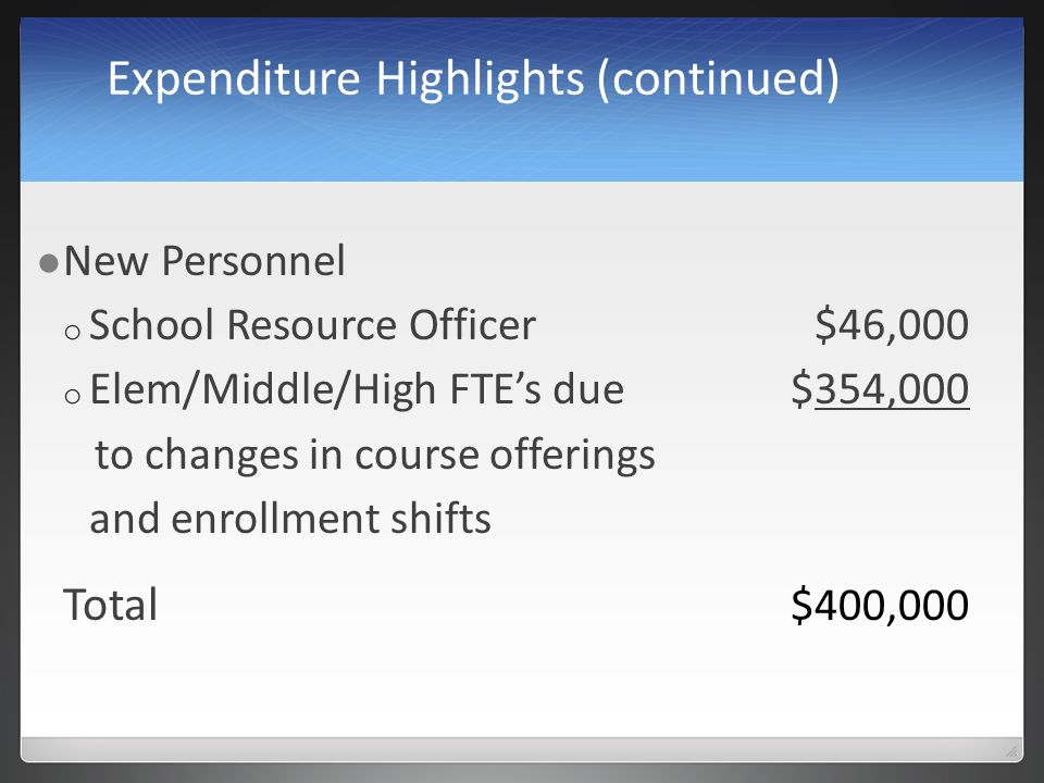 Expenditure Highlights (continued) New Personnel o School Resource Officer$46,000 o Elem/Middle/High FTEs due$354,000 to changes in course offerings and enrollment shifts Total $400,000
