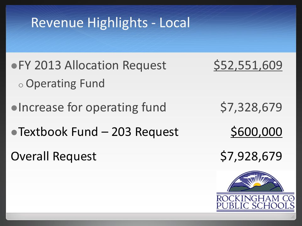 Revenue Highlights - Local FY 2013 Allocation Request$52,551,609 o Operating Fund Increase for operating fund$7,328,679 Textbook Fund – 203 Request$600,000 Overall Request$7,928,679