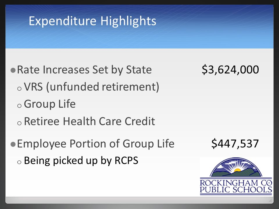 Expenditure Highlights Rate Increases Set by State$3,624,000 o VRS (unfunded retirement) o Group Life o Retiree Health Care Credit Employee Portion of Group Life$447,537 o Being picked up by RCPS
