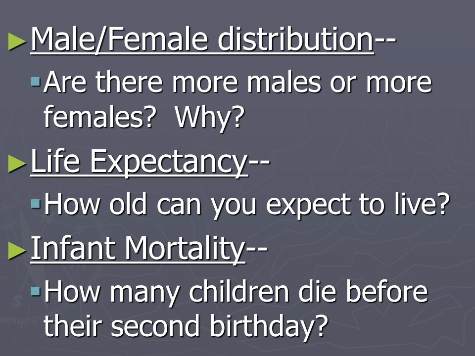 Male/Female distribution-- Male/Female distribution-- Are there more males or more females? Why? Are there more males or more females? Why? Life Expec