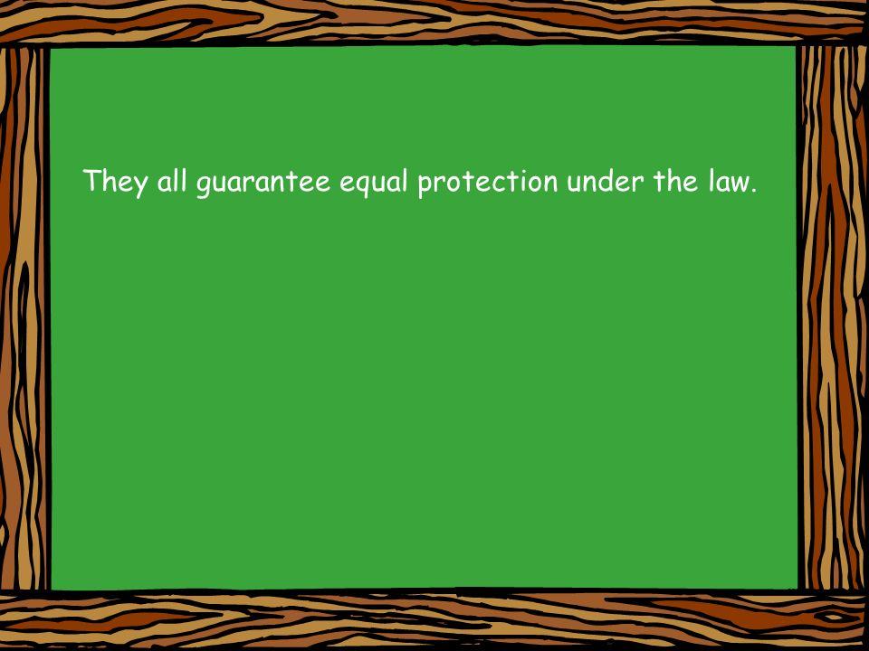 They all guarantee equal protection under the law.