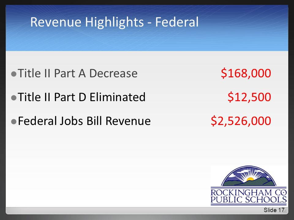 Revenue Highlights - Federal Title II Part A Decrease$168,000 Title II Part D Eliminated$12,500 Federal Jobs Bill Revenue$2,526,000 Slide 17