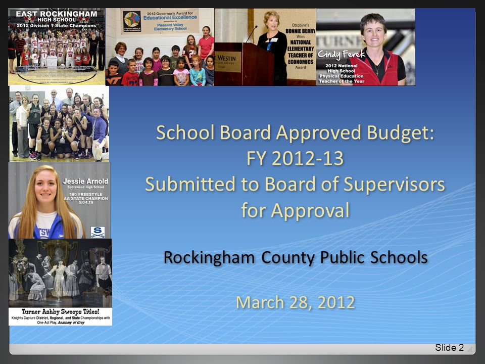 2012-2013 RCPS Budget Timeline Oct, 2011Budget process begun Jan 10, 2012Public hearing at CRES Jan 23, 2012Board reviewed all expenditure requests Feb 13, 2012Board reviewed Governors budget Feb 27, 2012Governor, Senate & House budgets Mar 12, 2012Budget Priorities Discussed Mar 21, 2012Superintendents Recommended Budget Mar 26, 2012 Public Hearing at DLC Mar 28, 2012Board Approved Budget Slide 3