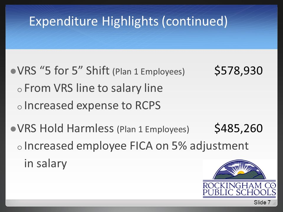 Expenditure Highlights (continued) VRS 5 for 5 Shift (Plan 1 Employees) $578,930 o From VRS line to salary line o Increased expense to RCPS VRS Hold Harmless (Plan 1 Employees) $485,260 o Increased employee FICA on 5% adjustment in salary Slide 7