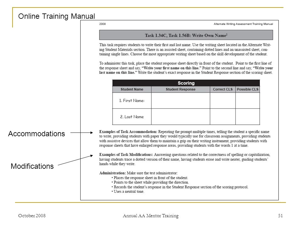 October 2008 Annual AA Mentor Training 51 Accommodations Modifications Online Training Manual