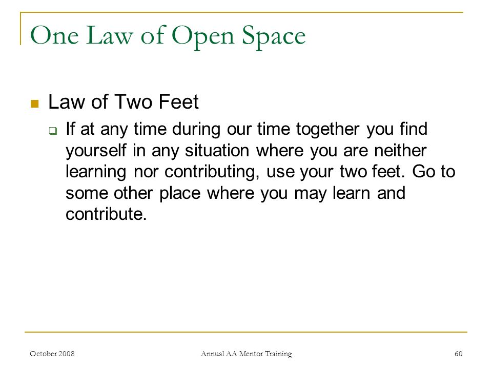 October 2008 Annual AA Mentor Training 60 One Law of Open Space Law of Two Feet If at any time during our time together you find yourself in any situa