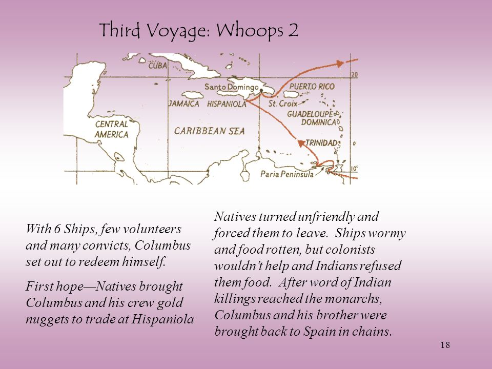 18 Third Voyage: Whoops 2 With 6 Ships, few volunteers and many convicts, Columbus set out to redeem himself.