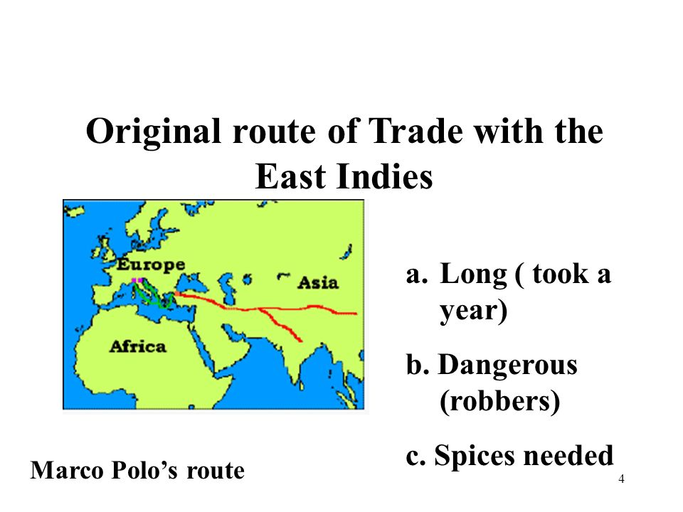 4 Original route of Trade with the East Indies Marco Polos route a.Long ( took a year) b.