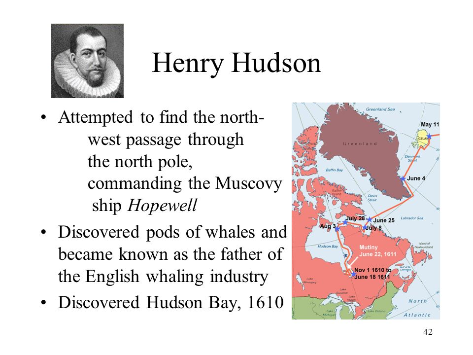 42 Henry Hudson Attempted to find the north- west passage through the north pole, commanding the Muscovy ship Hopewell Discovered pods of whales and became known as the father of the English whaling industry Discovered Hudson Bay, 1610