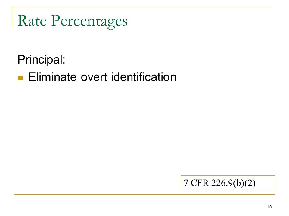 10 Rate Percentages Principal: Eliminate overt identification 7 CFR 226.9(b)(2)