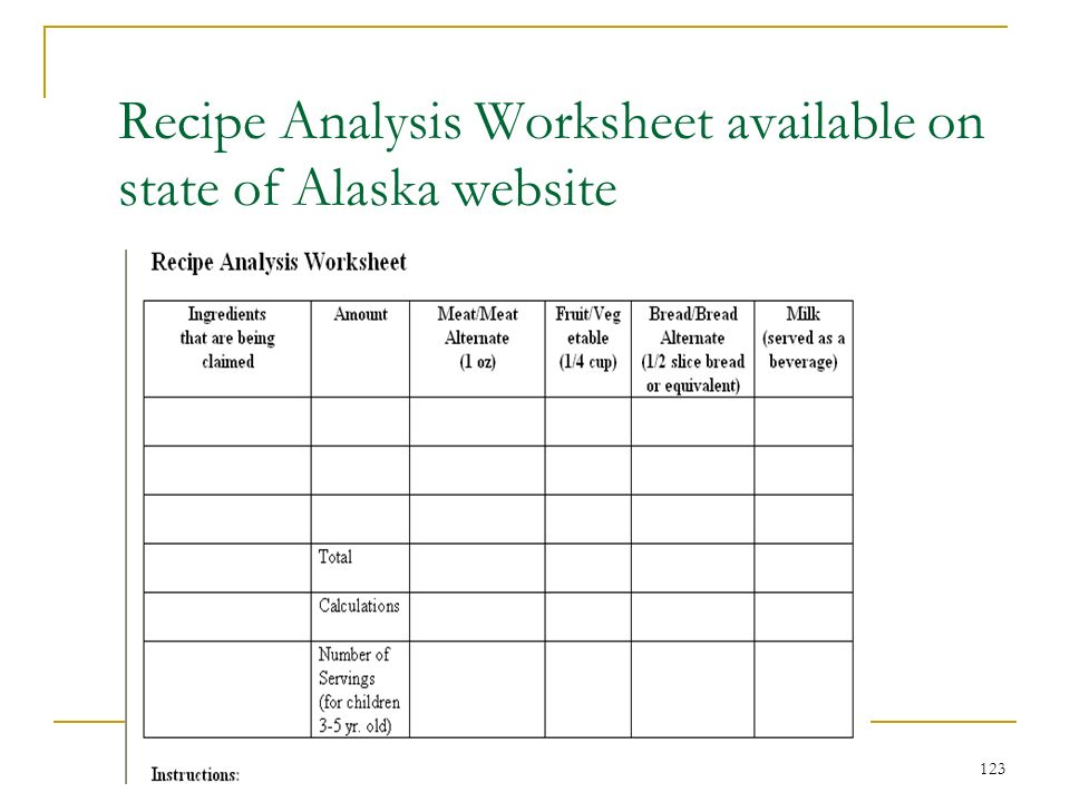 123 Recipe Analysis Worksheet available on state of Alaska website