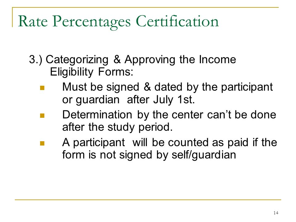 14 Rate Percentages Certification 3.) Categorizing & Approving the Income Eligibility Forms: Must be signed & dated by the participant or guardian aft