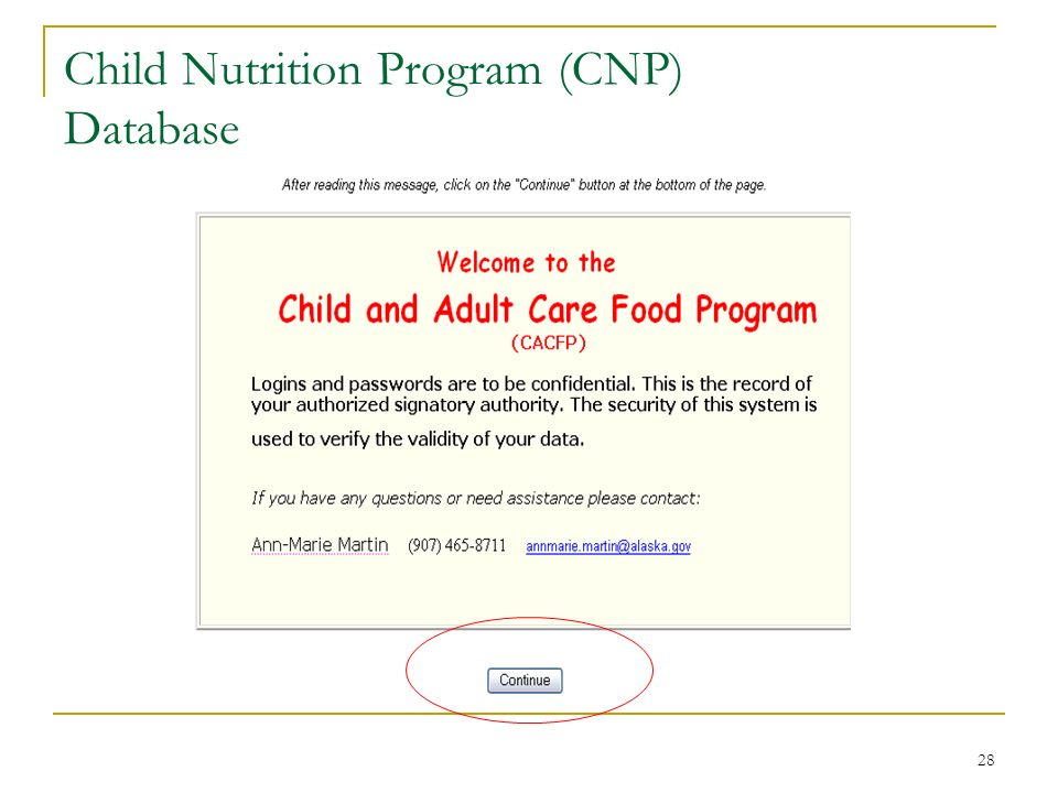 28 Child Nutrition Program (CNP) Database