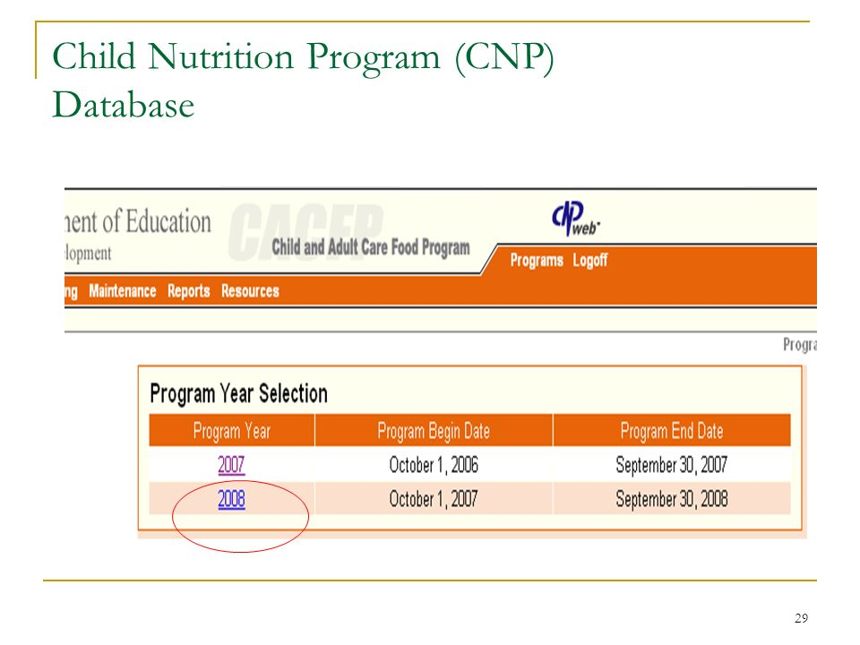29 Child Nutrition Program (CNP) Database
