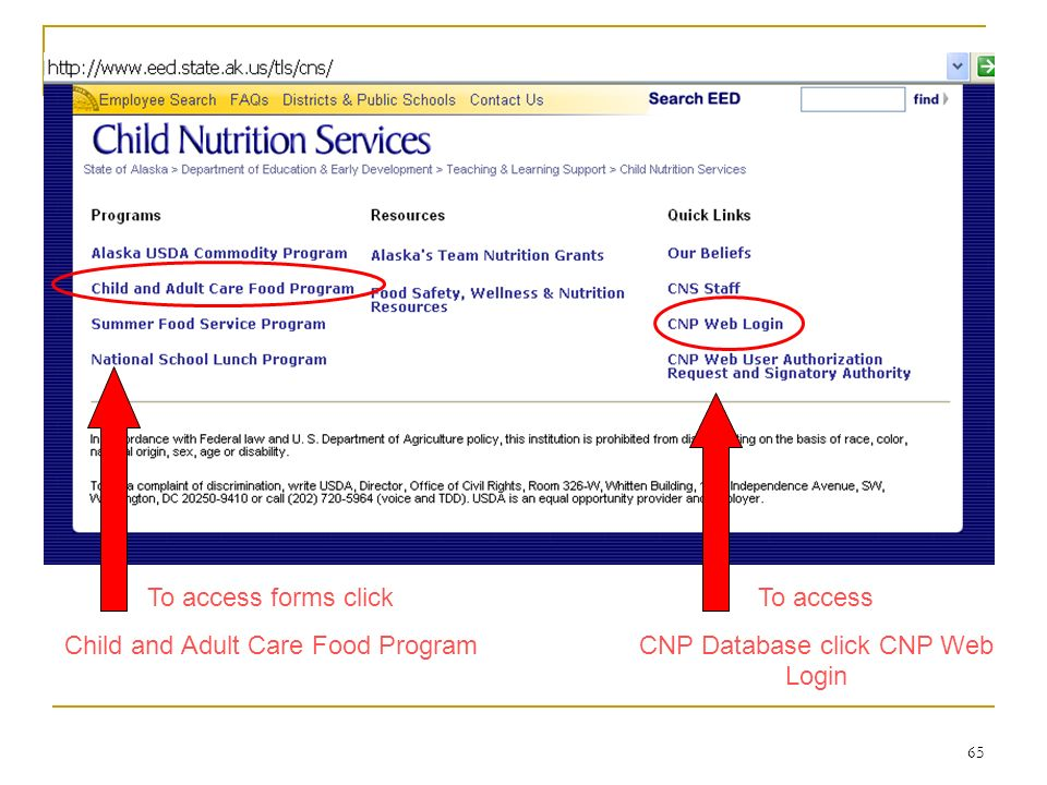65 To access forms click Child and Adult Care Food Program To access CNP Database click CNP Web Login