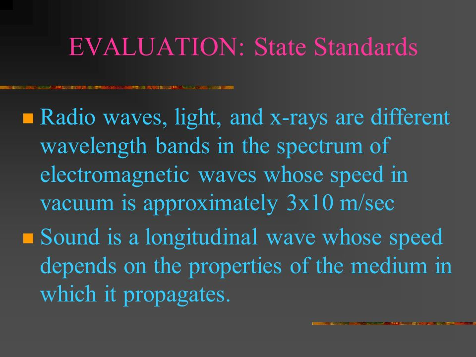 EVALUATION: State Standards Waves carry energy from one place to another Identify transverse and longitudinal waves in mechanical media such as spring