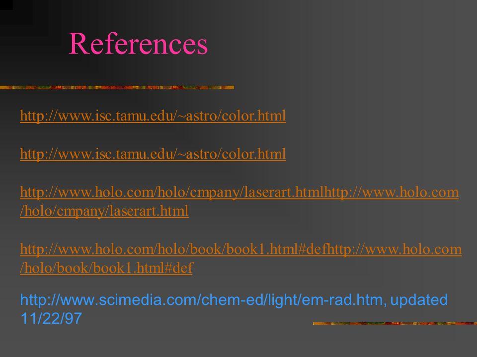 References http://www.scimedia.com/chem-ed/light/em-spec.htm, updated 2/1/97 http://encarta.msn.com/find/Concise.asp?ti=06AFC000 http://www.lbl.gov/Mi