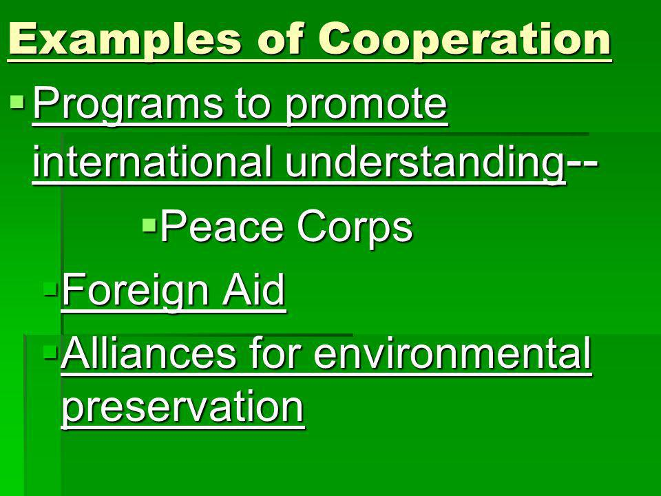 Examples of Cooperation Programs to promote international understanding -- Programs to promote international understanding -- Peace Corps Peace Corps