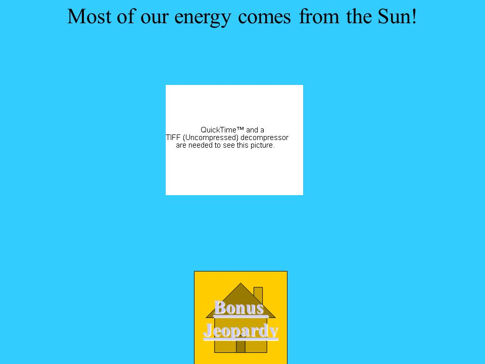 Most of our energy comes from A. The kitchen D. The Sun C. The wall B. The power plants