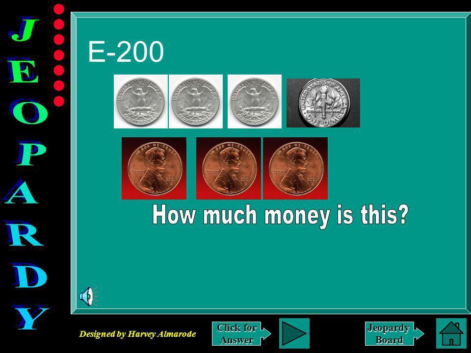 Designed by Harvey Almarode JeopardyBoard Answer to E-100 $.47