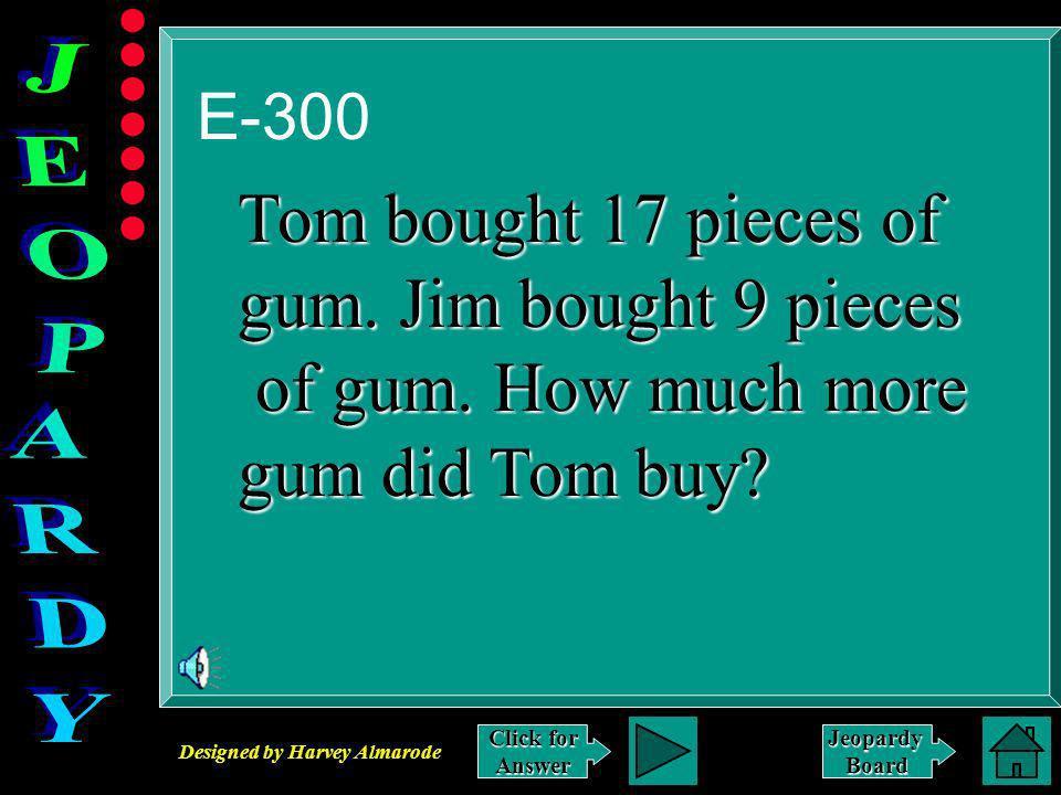 Designed by Harvey Almarode JeopardyBoard Answer to E-200 $.88